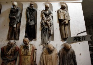 """Hey, Has Anybody Seen My Coffin?"" / Totally gross mummies in the Capuchin catacombs in Palermo, Sicily / source: REUTERS/Tony Gentile"