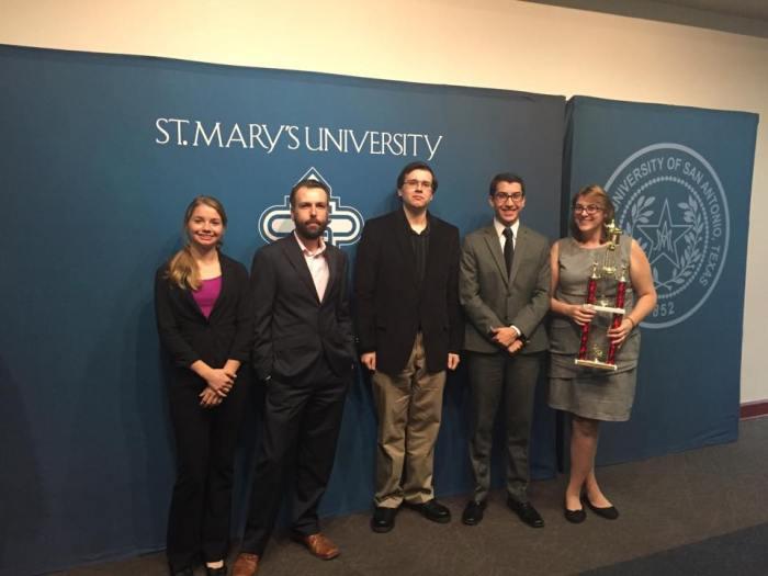 TLU champs from left to right / Jaime Scherbeh, Thomas Holstein, Michael Flynn, Mason Allenger, Haley Czarnek